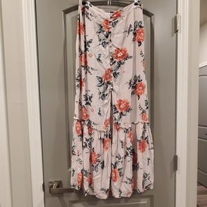 Floral button maxi skirt with thigh slit